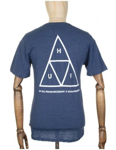 Huf Triple Triangle Streaky Heather T-shirt - Navy