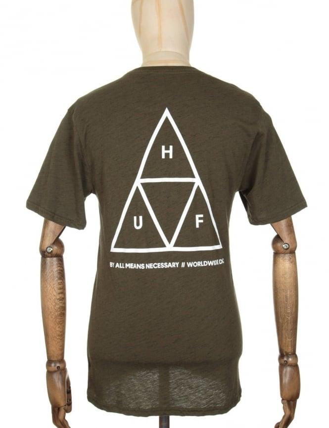 Huf Triple Triangle Streaky Heather T-shirt - Olive