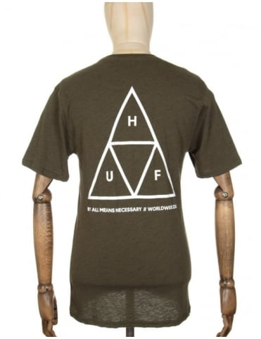 Huf Triple Triangle Streaky Heather T-shirt - Olive