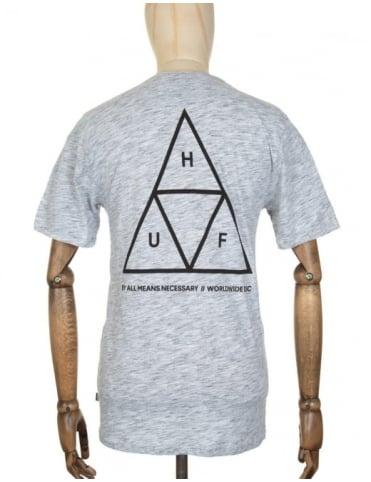 Huf Triple Triangle Streaky Heather T-shirt - White