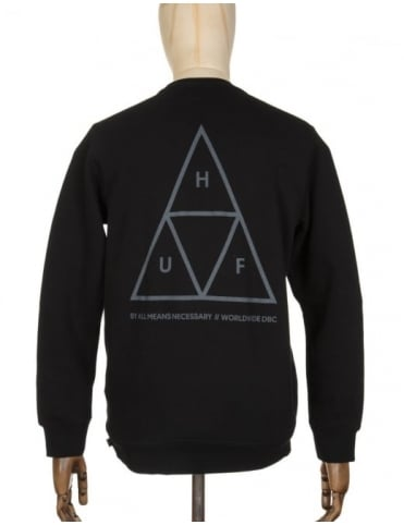 Huf Triple Triangle Sweatshirt - Black/Grey