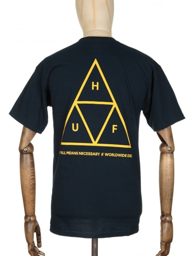 Huf Triple Triangle T-shirt - Navy/Gold
