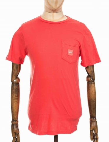 Woven Label Pocket T-shirt - Coral