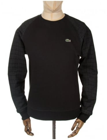 Lacoste Live Croc Print Sweatshirt - Black