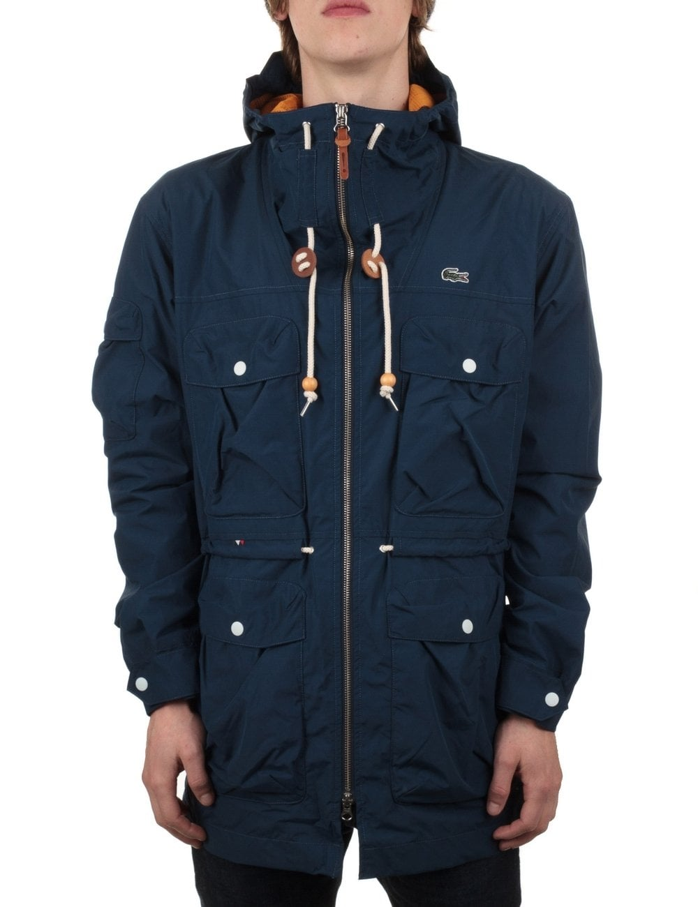 79c6c902c9 Lacoste Live Hooded Jacket - Ship Blue - Clothing from Fat Buddha ...