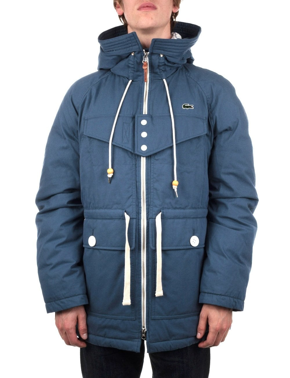593c539d6d Lacoste Live Hooded Lined Parka - Ouessant Blue - Clothing from Fat ...