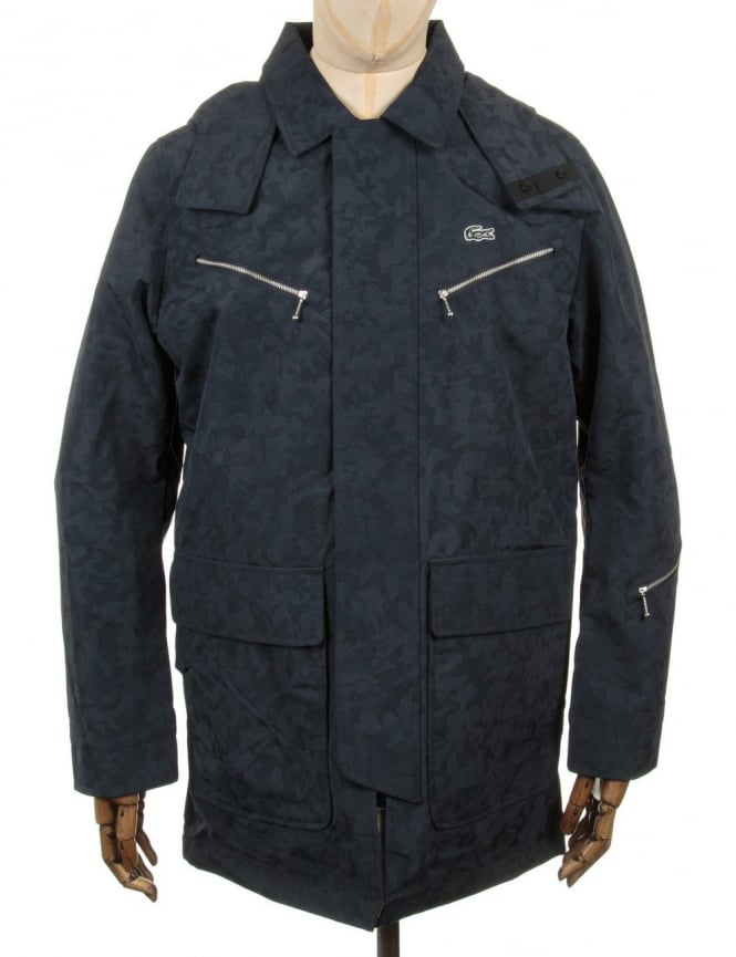 Lacoste Live Hooded Parka Jacket - Navy Blue