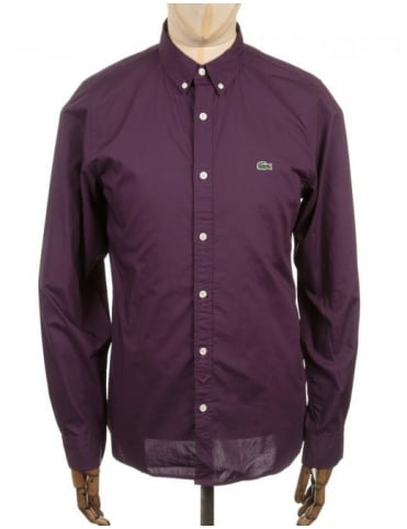 Lacoste Live L/S Skinny Fit Crocodile Shirt - Wine