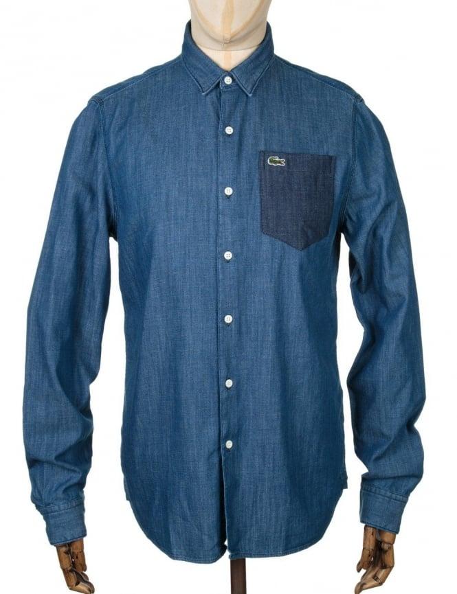 Lacoste Live L/S Skinny Fit Shirt - Two Tone Medium Indigo