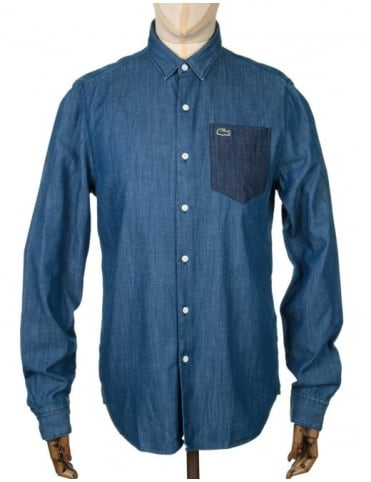 L/S Skinny Fit Shirt - Two Tone Medium Indigo