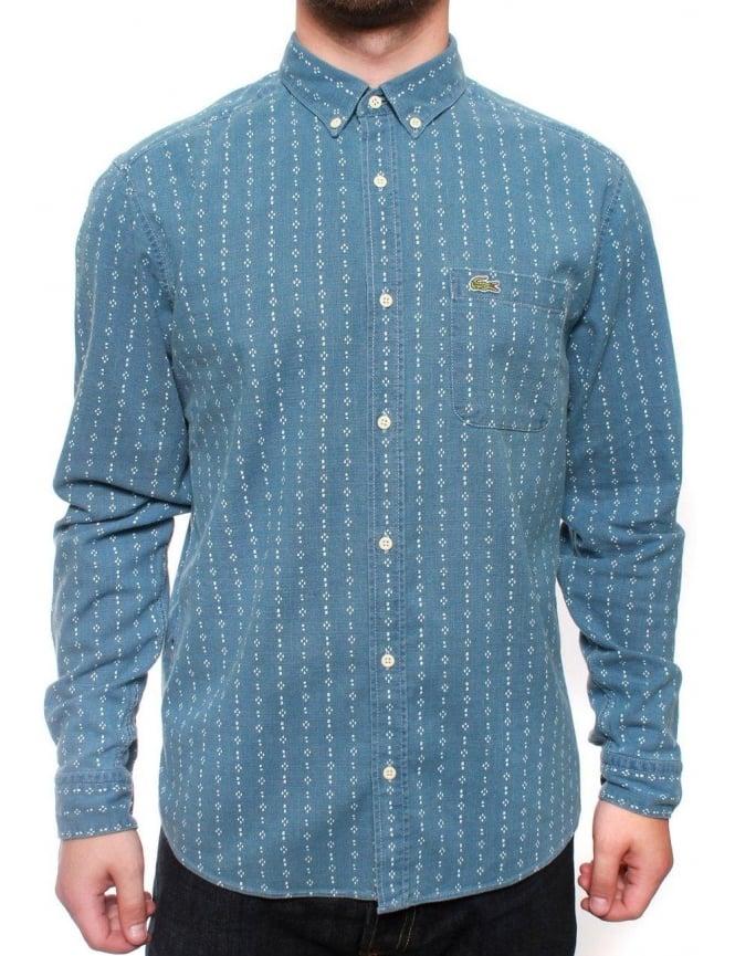 lacoste live long sleeve woven shirt printed bleach