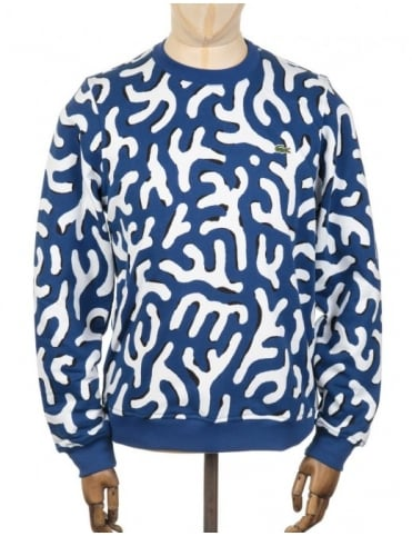 Lacoste Live Printed Sweatshirt - Blue/White