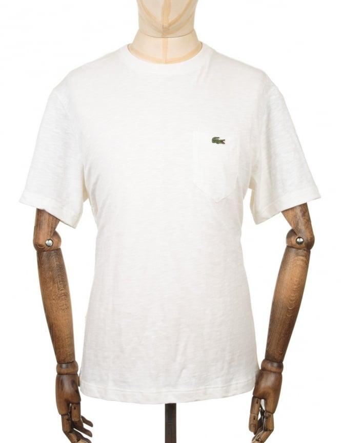 Lacoste Live S/S Pocket Croc Logo T-shirt - Flour
