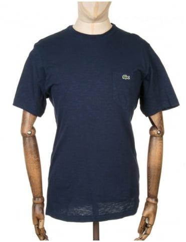 Lacoste Live S/S Pocket Croc Logo T-shirt - Navy