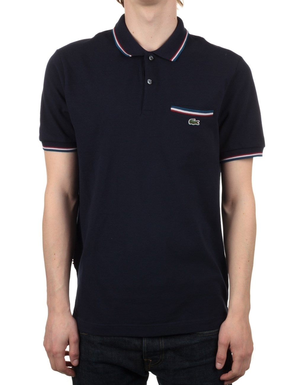 c625c51c01 Lacoste Live Short Sleeve Ribbed Polo - Marine Navy - Clothing from ...
