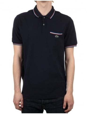 Lacoste Live Short Sleeve Ribbed Polo - Marine Navy