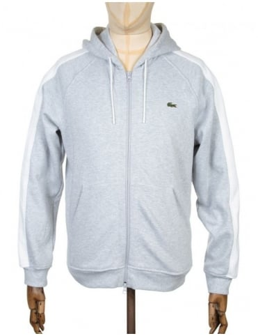 Lacoste Live Two-Tone Hooded Sweat - Silver Chine/White