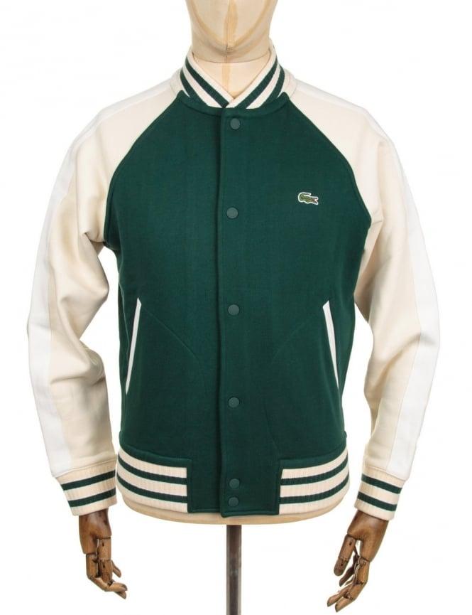 Lacoste Live Varsity Style Cardigan - Green/Cream