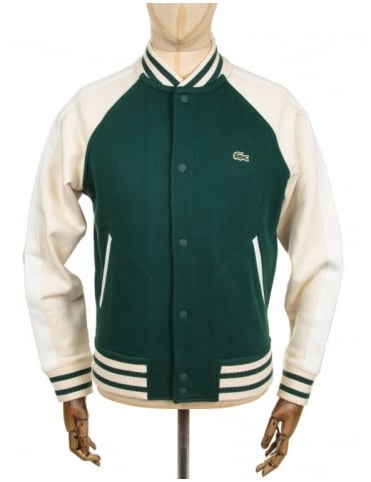 Lacoste Live Varsity Style Cardigan - Green/Cream