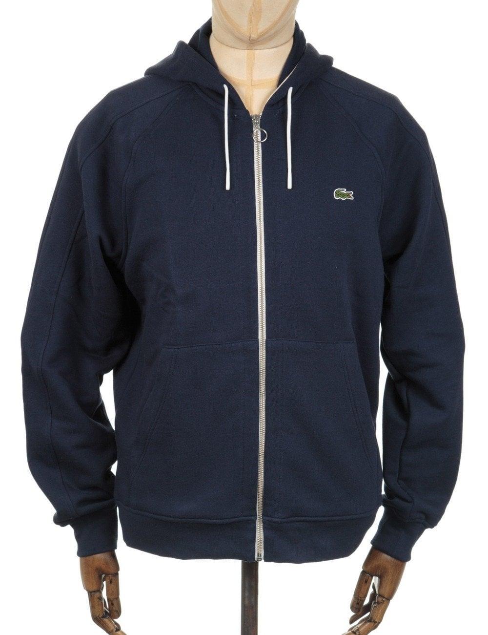 142aa2aaf394d Lacoste Live Zip Hooded Sweatshirt - Marine Blue - Clothing from Fat ...