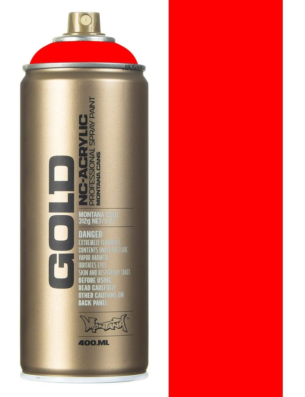 Montana Gold F3000 Flourescent Fire Red Spray Paint 400ml
