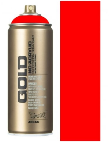 Montana Gold Flourescent Fire Red Spray Paint - 400ml