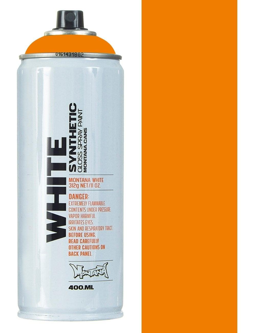 Montana White Bright Orange Spray Paint 400ml Spray