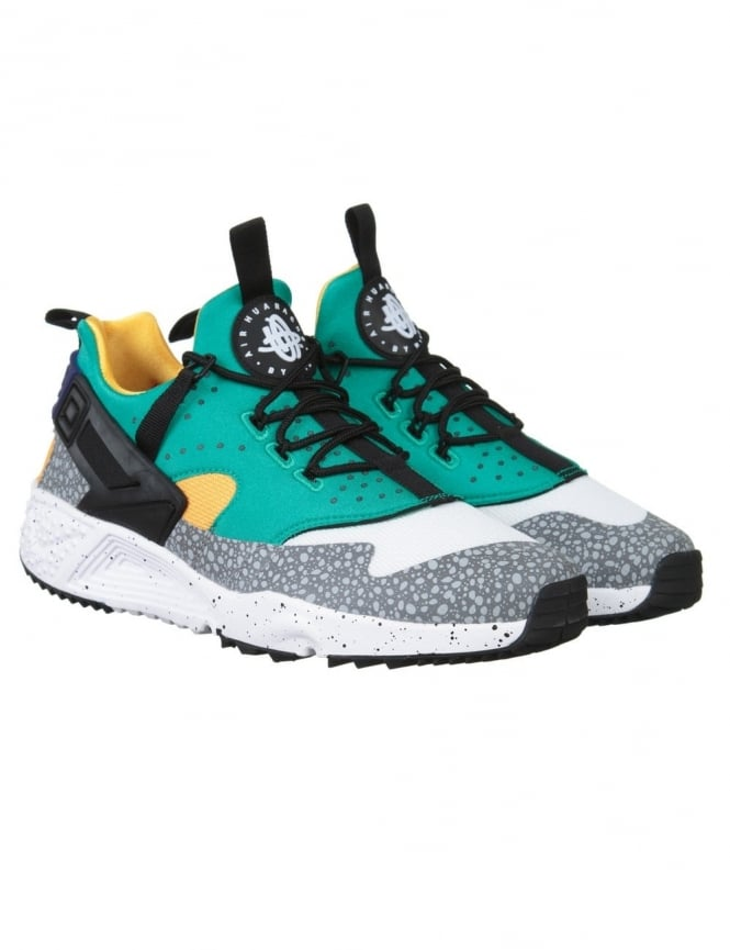 Nike Air Huarache Utility Shoes - White/Black/Emerald Green