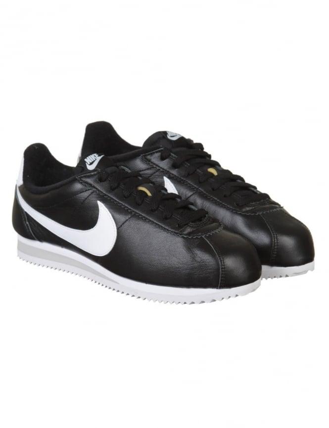 Nike Classic Cortez PRM Leather Shoes - Black/White