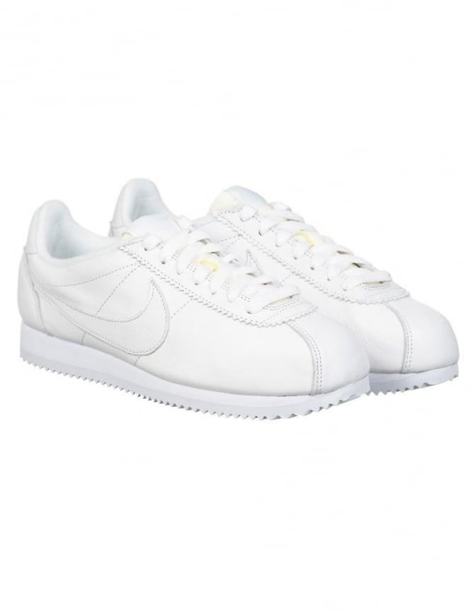 Nike Classic Cortez PRM Leather Shoes - White/White