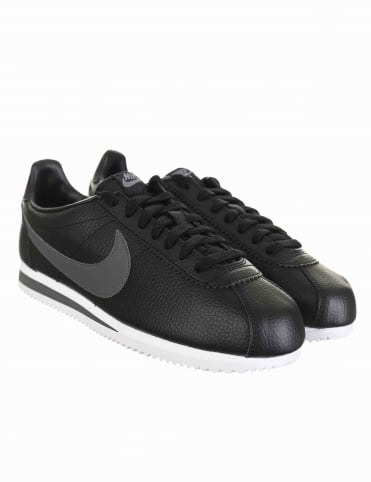 Cortez Leather Shoes - Black/Dark Grey