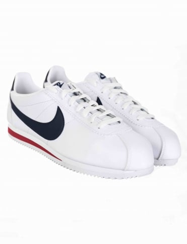 Nike Cortez Leather Shoes - White/Midnight Navy
