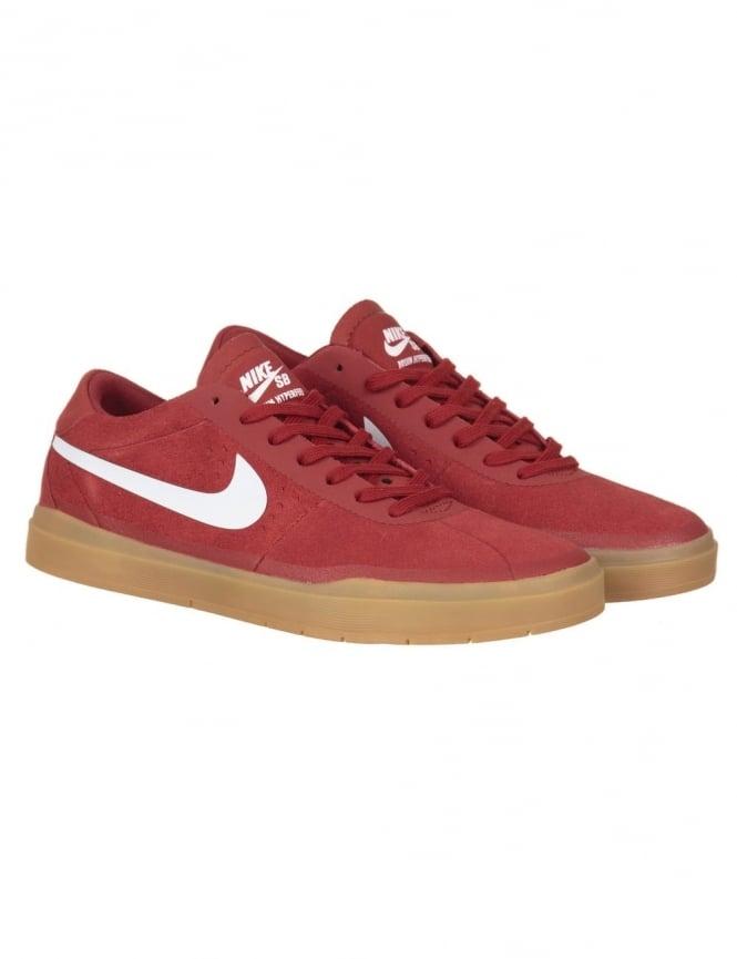 Nike SB Bruin Hyperfeel Shoes - Dk Cayenne/White