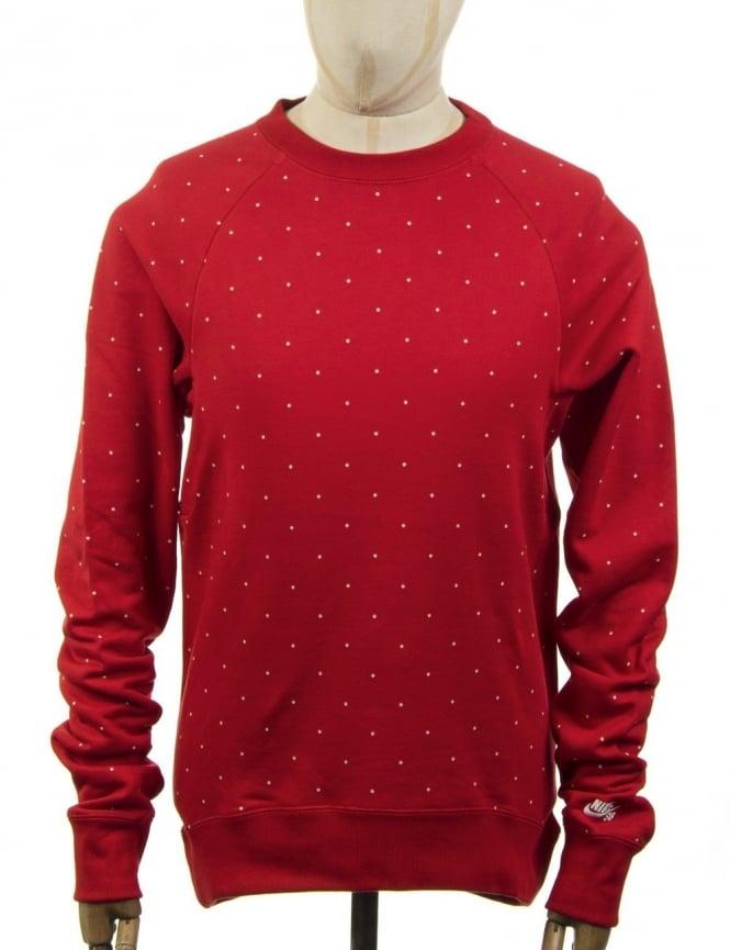 Nike SB Everett Polka Dot Sweatshirt - Gym Red/White