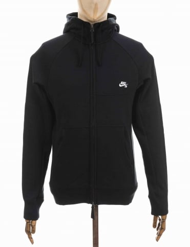 Everett Zip Hooded Sweat - Black/White