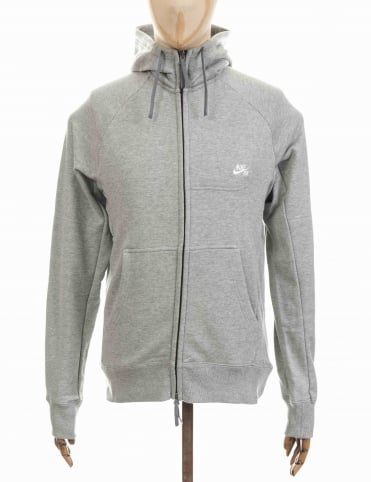 Everett Zip Hooded Sweat - Grey Heather