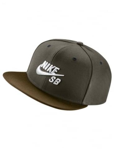 Nike SB Icon Logo Pro Snapback Hat - Cargo Khaki/Khaki