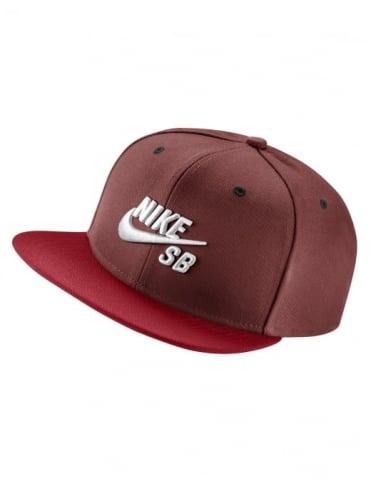 Nike SB Icon Logo Pro Snapback Hat - Dark Cayenne/Uni Red