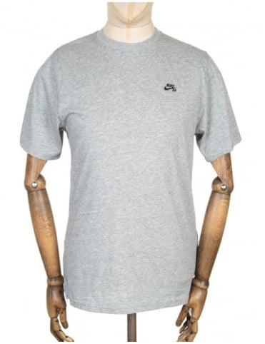 Knit Overlay T-shirt - Dark Grey Heather