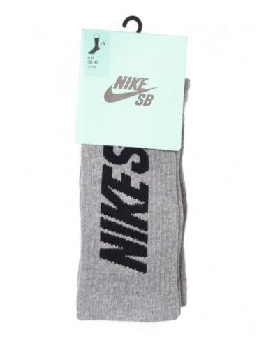 Nike SB Skate Crew Sock (3-Pk) - Heather Grey
