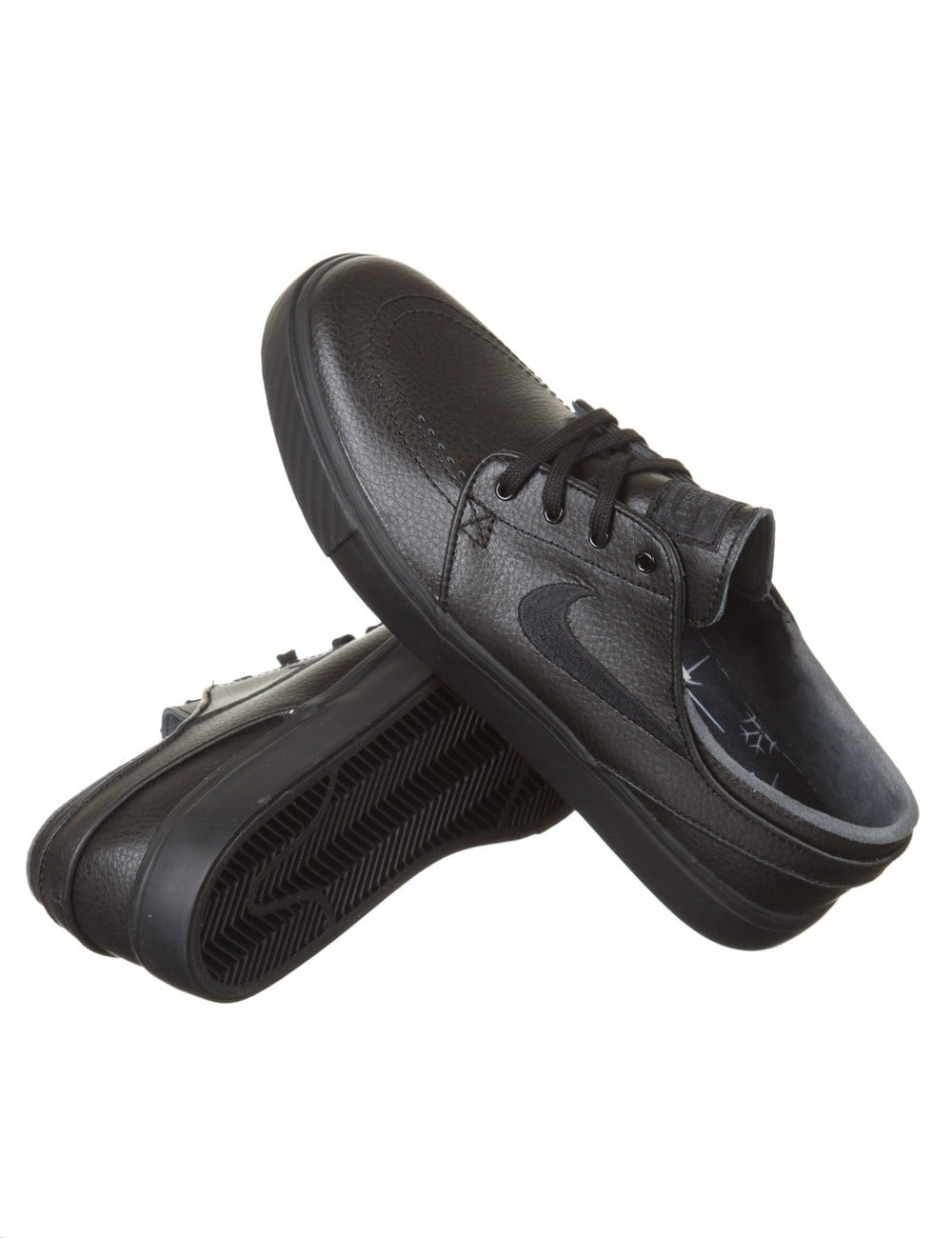 nike all black leather shoes