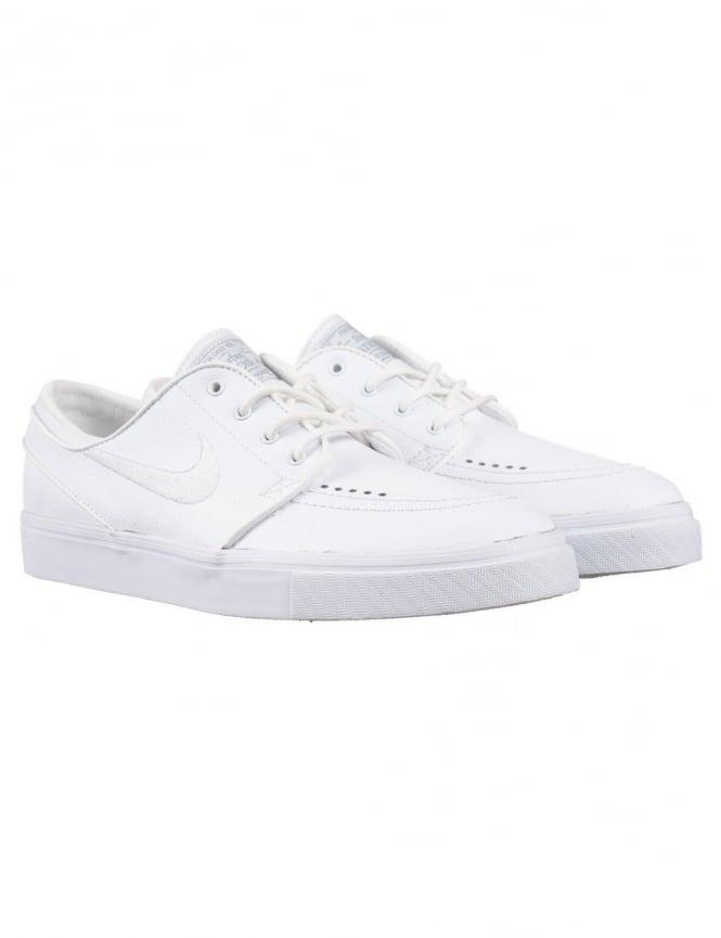Nike SB Stefan Janoski Leather Shoes - White/White