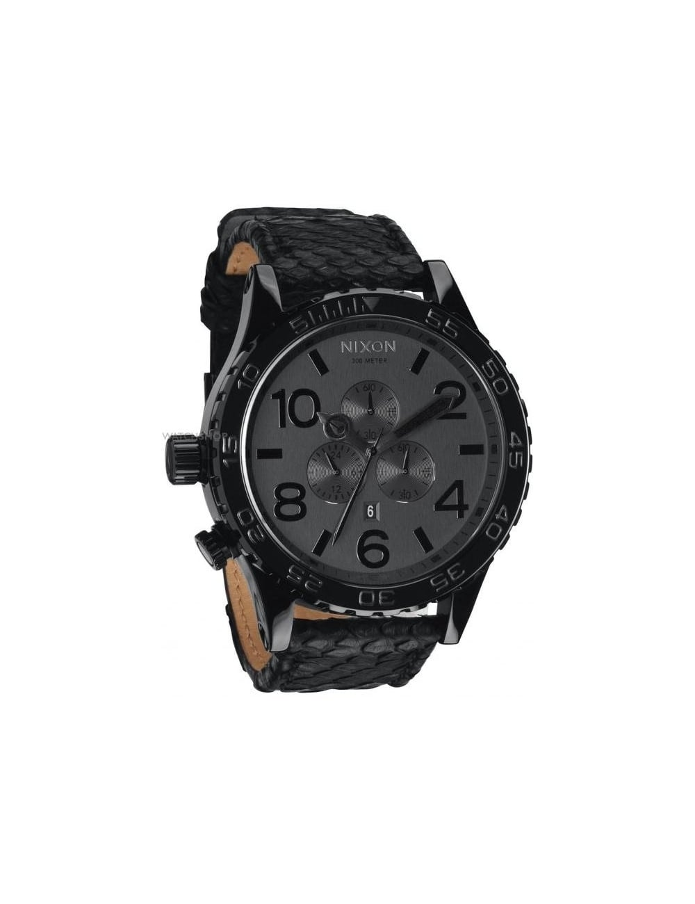 Home nixon nixon 51 30 chrono leather watch black snakeskin