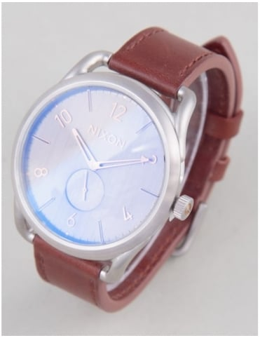 Nixon C45 Leather Watch - Gray/Rose Gold