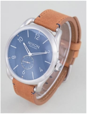 Nixon C45 Leather Watch - Navy/Saddle
