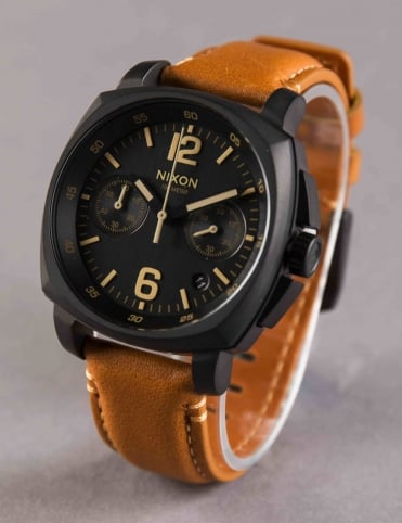Charger Chrono Leather Watch - All Black/Light Brown