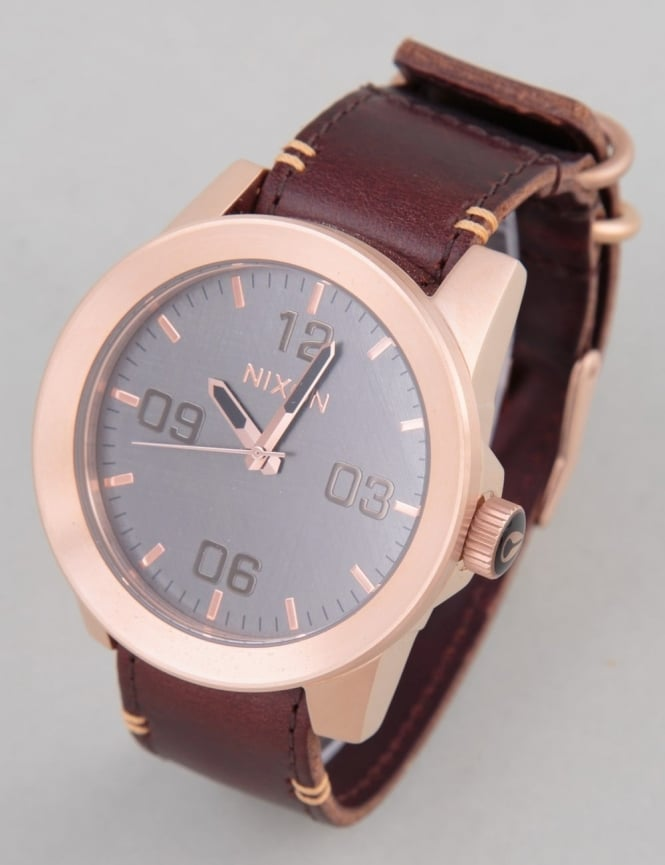 Nixon Corporal Watch - Rose Gold/Gunmetal/Brown