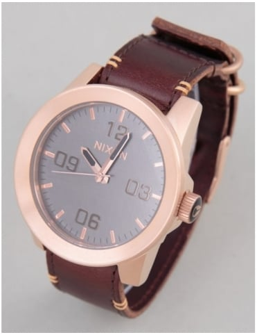 Nixon Corporal Watch - Rose Gold/Gunmetal/Brown