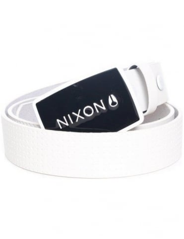 Nixon Enamel Wordmark Belt - White Pin