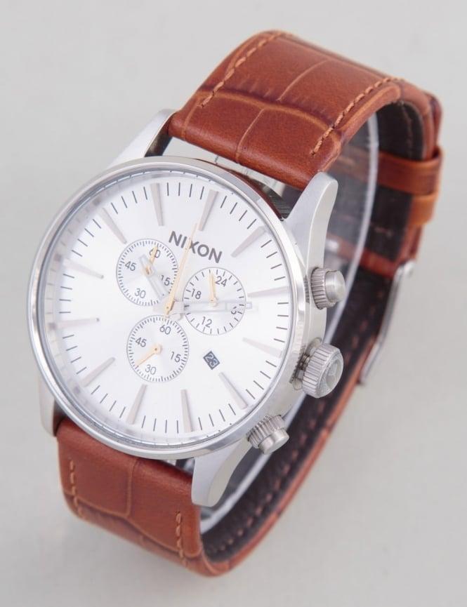 Nixon Sentry Chrono Leather Watch - Saddle Gator